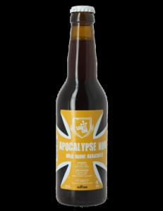 Voici la bouteille Apocalypse Now de style brown ale, une bière brune de la brasserie Sainte Cru.